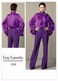 New,Uncut Pussybow Top and Trousers Guy Laroche Vogue Pattern V1416.Sizes 14-16-18 -20 -22.