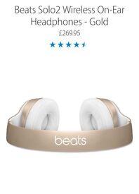 Beats by Dre Solo2 Wireless Headphones in Gold RRP £269.95