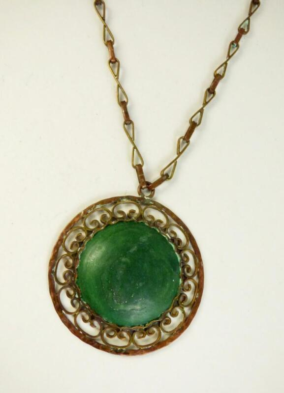 Antique Stamped Mexico Handmade Brass & Copper Green Stone Necklace