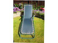2 x Sun loungers with green, anodised, tubular frames with strong, green canvas body. As new