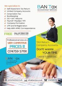 Self Assessment - TAX Return, CIS Return/Refund, VAT, PAYE, Company Accounts, Corporation Tax