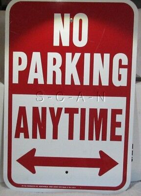 Large 12 X 18 No Parking Anytime Sign- Private Or Business Metal Sign- Used