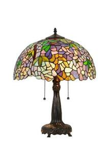 NEW Chloe Lighting CH33373WP16-TL2 Tiffany-Style Wisteria 2 Light Table Lamp 16-Inch Shade
