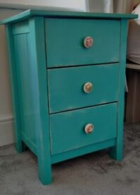 Bedside table, 3 drawers, shabby chic turquoise colour