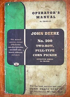 John Deere No.200 2-row Corn Picker - Operators Manual