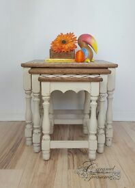 Solid wood set of oak nested tables,shabby chic nest of tables
