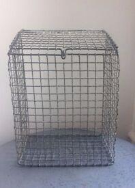 Vintage Galvanised Wire Letter Basket
