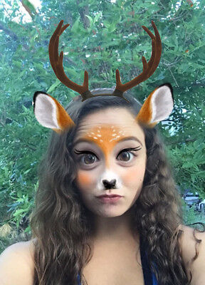 Deer Antler Costume Headband BUCK Bambi SnapChat Filter Reindeer Horns US Seller - Reindeer Antler Headband