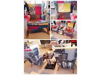 Patchwork Retro Shabby Chic Louis Style Armchairs;Matching framed print