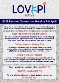 LovePi Maths Tutoring - GCSE Revision Classes - ONLY £5 - LIMITED AVAILABILITY