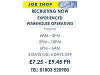 Warehouse Operatives - Paignton- Temporary on-going contract - £7.25 PH +