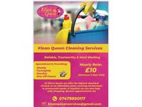 Klean Queen cleaning services £10 per hour