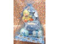 Boy's Blue pram nappy cake perfect for baby showers or as a new baby gift
