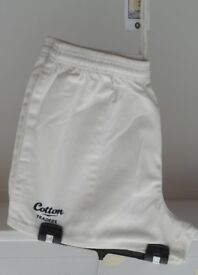 Cotton Trader Adult Rugby Shorts, White. Sizes: Small, or XXL.
