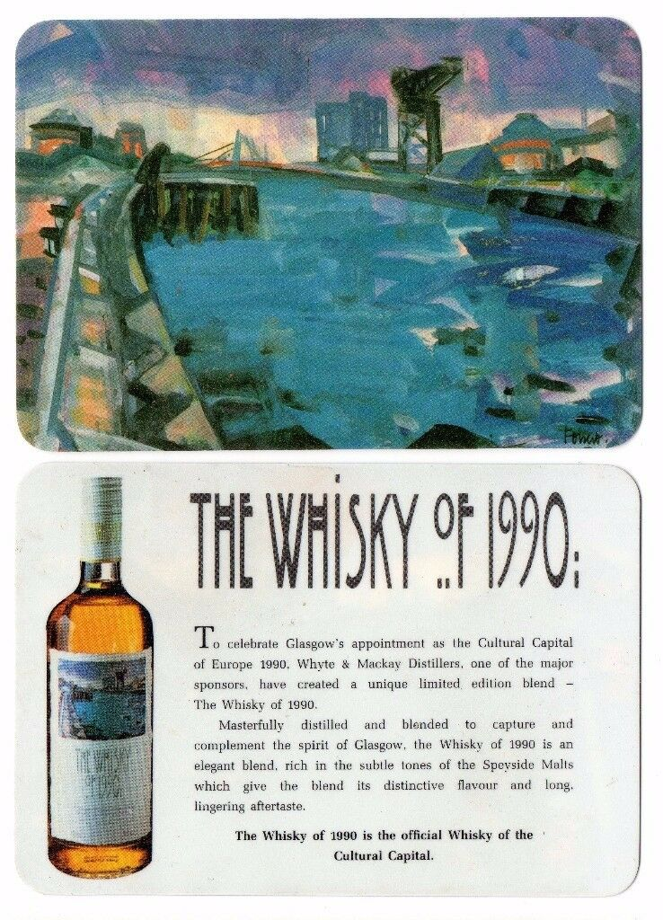 SET OF 4 VINTAGE WHYTE & MACKAY WHISKY DRIP BEER MATS GLASGOW CITY CULTURE 1990