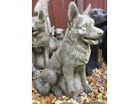 Large heavy stone dogs garden or home