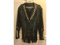 Ladies black embellished quality leather jacket size M 10-14