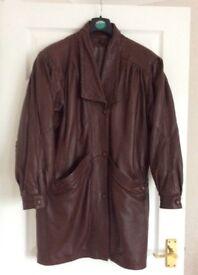 Ladies brown leather coat. Three quarter length Size 12