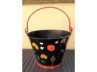 Lovely old `Barge Ware ` decorated metal bucket planter , look great in garden