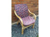 Conservatory Beige Bamboo Cushioned Modern House/Home Armchair