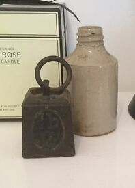 Shabby Chic- old metal weight and old bottle vintage