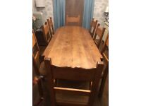 Solid Oak 8 seater Dinning Table & chairs