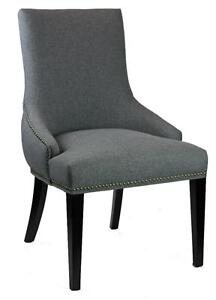 Tufted Back Grey Dining Chair With Antique Brass Nail Head