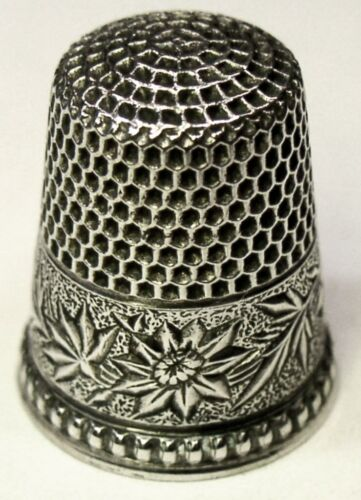 """Antique Ketcham & McDougall Sterling Silver Thimble  """"Damask Flowered""""  C1890s"""