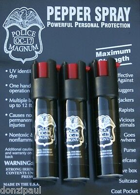 3 PACK POLICE MAGNUM OC-17 MACE PEPPER SPRAY 3/4oz SAFETY LOCK Personal Security