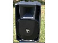 P A speakers RCF ART 412a x 2 including zip up rcf covers, manuals, original packaging