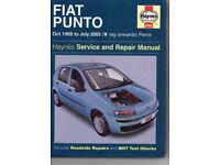 Haynes service / repair manual for Fiat Punto 1999 to 2003 petrol car