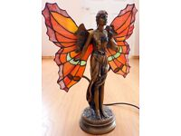 Collectible Tiffany style art deco lady with butterfly wings lamp