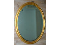 """Vintage wall mirror, gold frame, 31"""" x 24"""". Excellent condition."""