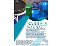 220Litre Plastic barrels garden/allotment water butts, shipping, storage