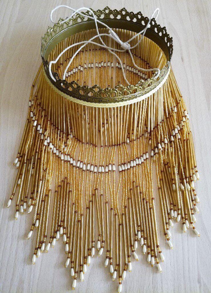 Vintage Art Deco Glass Beaded Light Shade: Amber, Brown Pearl. Ornate Filigree Rim/ lighting/ Beads