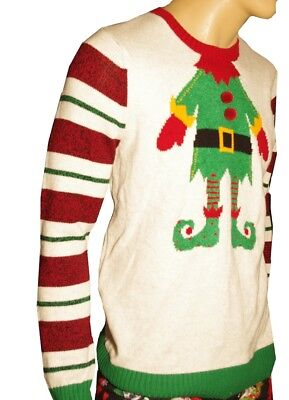 Mens Adult ELF Funny Santas Help Holiday Ugly Christmas Sweater Party Medium - Santas Elf