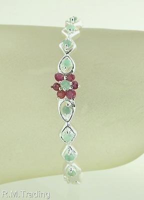 Affordable Fashion 1.50ct Genuine Ruby & Emerald Silver Bangle Bracelet 13.1g