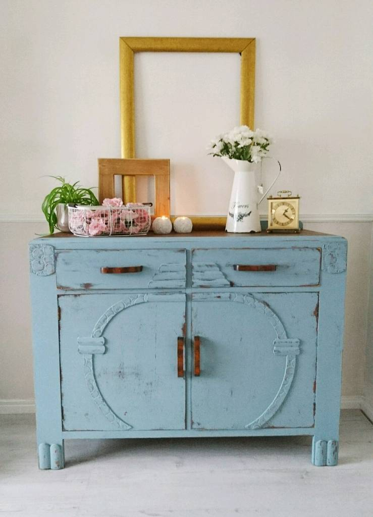 Vintage sideboard, cupboard, shabby chic, farmhouse style, solid ...