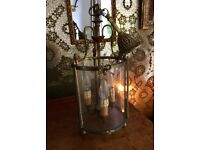 Antique French Heavy Brass And Glass Ceiling Light