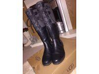 Ugg Elsa black leather boots 6
