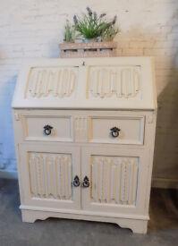 Painted Oak Linen Fold Bureau