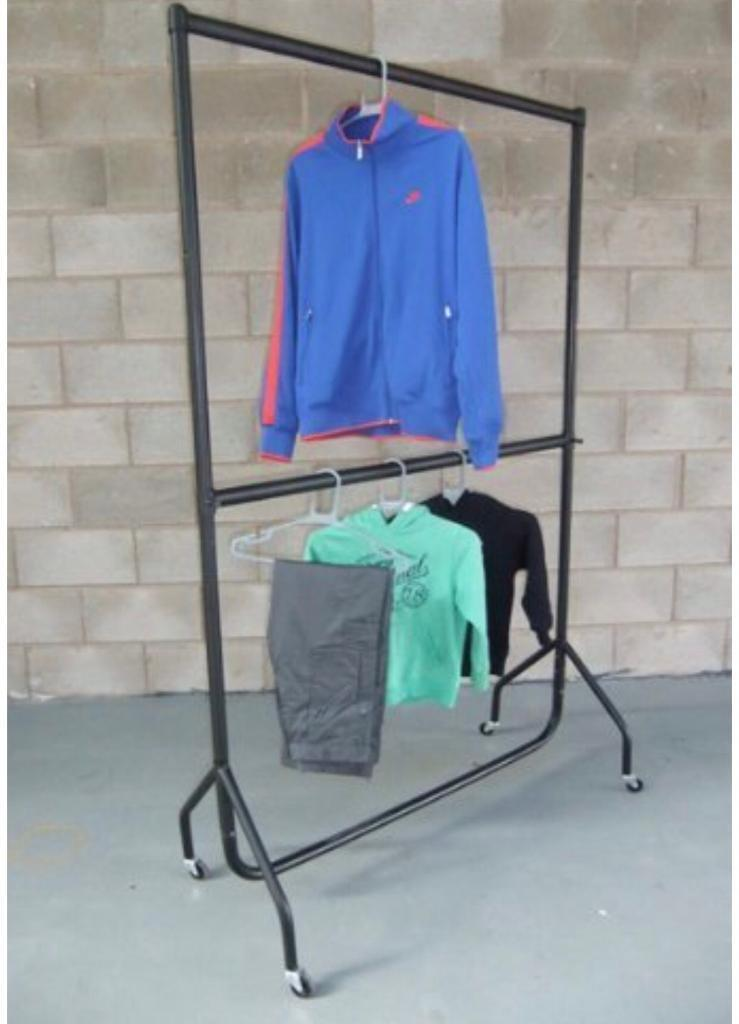 """Heavy Duty Clothes Rail 5ft Wide x 6ft 6"""" High with a Height Adjustable Middle Rail"""