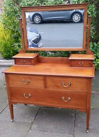 Stunning large inlaid dressing table
