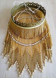 ART DECO STYLE Light Shade Glass Beads Amber Brown Pearl Fringe & Ornate Filigree Rim/ lighting
