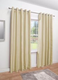 Cream faux silk fully lined eyelet top curtains 90x90 amazing condition
