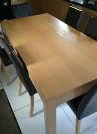 Large dining table & leather chairs