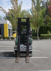 MITSUBISHI Electric Forklift w/ CASCADE Multi-pallet Forks
