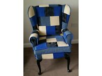 Patchwork wingback armchair, armchair, fireside chair
