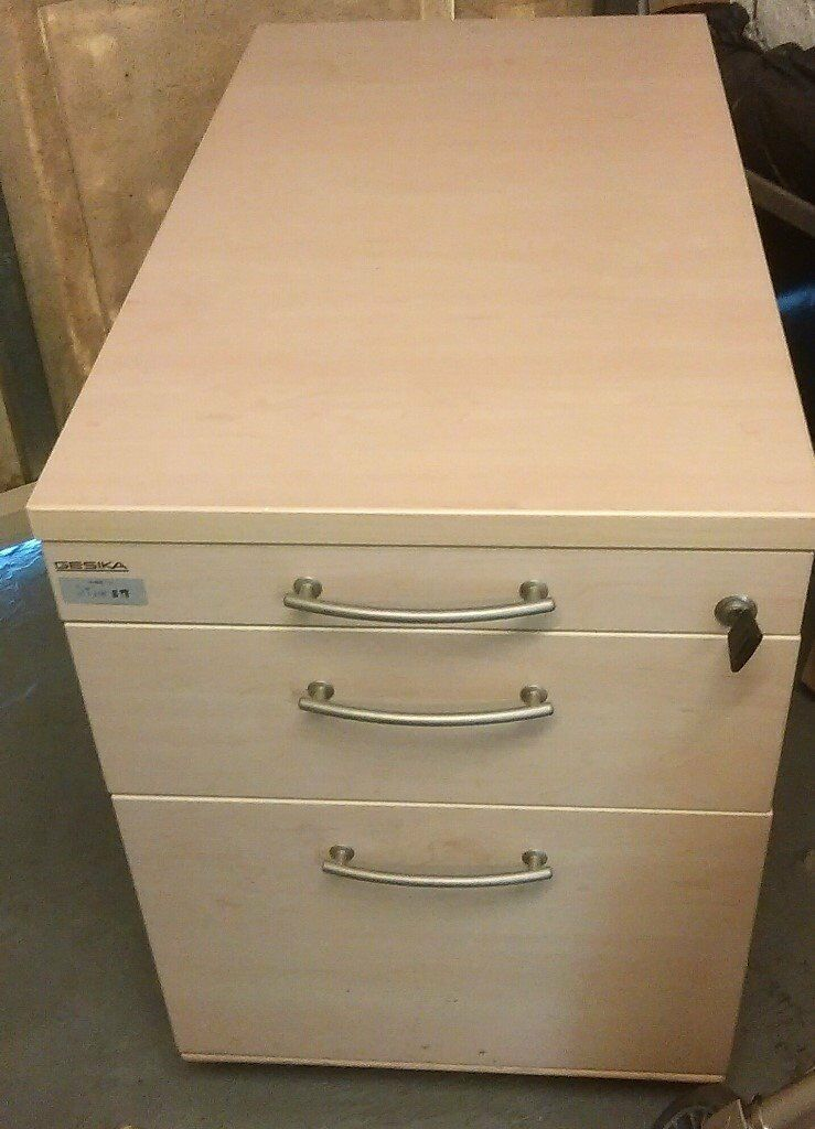 Under Desk Wooden Pedestal 3 Drawer Filing Cabinet With Key To Lock All Drawers