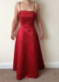 Red dress bridesmaid prom formal size 10 -12 removable straps